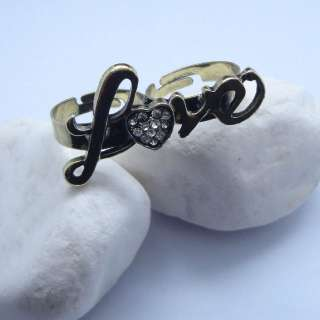 Charming Love Clear Rhinestone Double Finger Ring Adjustable