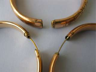 Antique Victorian Rose Yellow Gold GF Filled Bangle Bracelets Lot