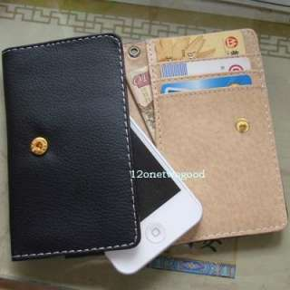 Luxury PU Leather Wallet Card Pouch Case Cover For iphone 4 4G 4S Hot