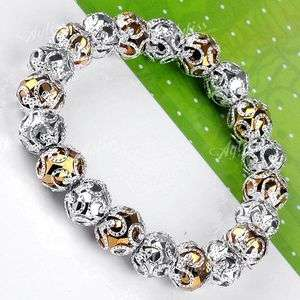 Golden Silvery Faceted Crystal Glass Ball Spacer Beads Bracelet
