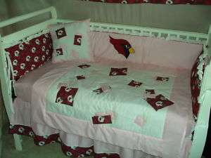 PINK Baby Nursery Crib Bedding Set w/Arizona Cardinals