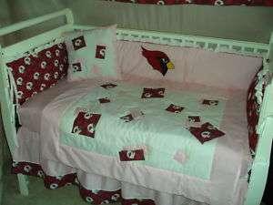 PINK Baby Nursery Crib Bedding Set w/Arizona Cardinals |