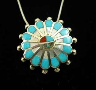 Sterling Silver ZUNI Pin Pendant Necklace Sun God Signed Victoria