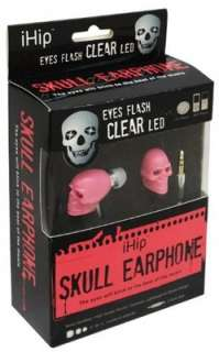 iHip Skull Pink Earphones Earbuds with Clear LED Eyes Blink to the