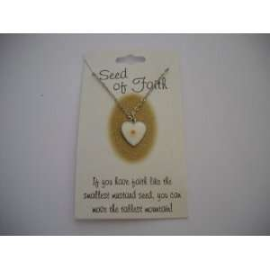 Mustard Seed Heart Shape Necklace in Silver Tone Jewelry