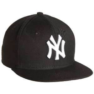Yankees Youth Black with White 59FIFTY Fitted Cap