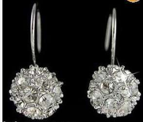 New 18K rhinestone Swarovski Crystal ball GP earrings
