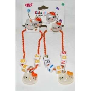Orange BFF Best Friends Set Girls Bracelets & Earrings