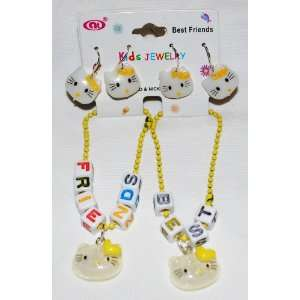 Yellow BFF Best Friends Set Girls Bracelets & Earrings