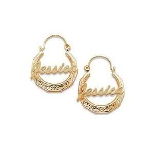 Gordons Jewelers 18K Gold Plate Name Etched Hoop Earrings