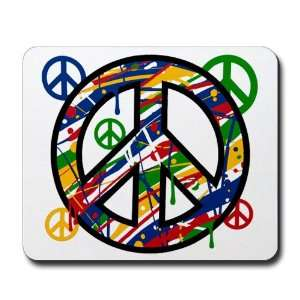 Mousepad (Mouse Pad) Peace Symbol Sign Dripping Paint
