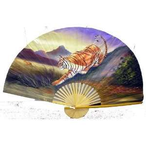 Hand Painted Fan With Tiger 35