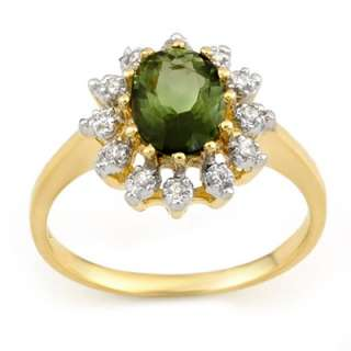 Genuine 1.62 ctw Green Tourmaline & Diamond Ring Gold