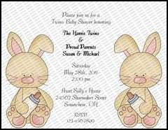 Assorted Twins Personalized Baby Shower Invitations