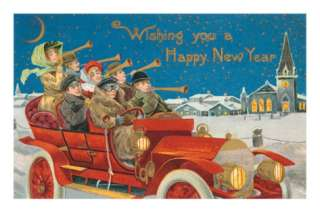 Happy New Year, Revelers in Old Car Photo at AllPosters