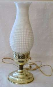 Vintage Fenton White Milk Glass Hobnail Corn Cob Lamp