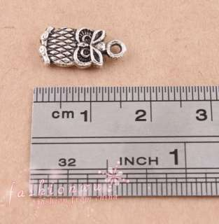 50X Old Silver Plated Lovely Fat Owl Charms 7*15mm