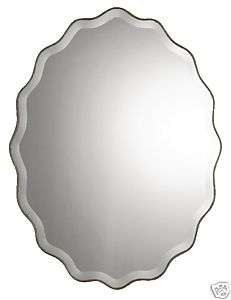 Oval Scalloped Ruffled Edge Antique Silver Wall Mirror