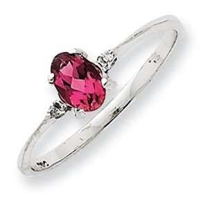 14K White Gold Diamond & Pink Tourmaline Birthstone Ring Size 6.00