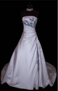 NEW plus size Wedding Dresses Strapless white+Black bride Gown 6 8 10