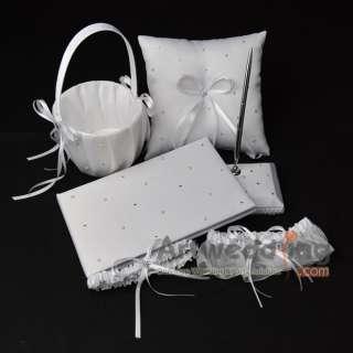 Wedding Guest Book & Pen Set, Bridal Garter, Flower Girl Basket