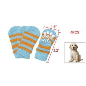 Como Blue Yellow Stripes Elastic Knitted Socks for Pet Dog