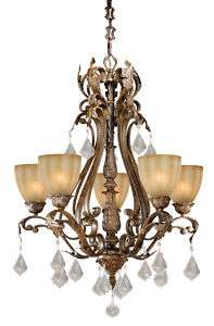 WALNUT 5L CHANDELIER VAXCEL FIXTURES LIGHTING DINING FOYER NEW