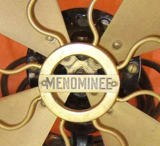 Antique Menominee Brass Blade Three Speed AC/DC 8 Electric Fan