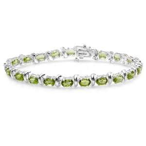 Cut Genuine Green Peridot 925 Sterling Silver Tennis Bracelet Jewelry