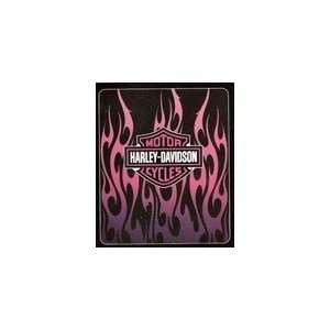 Harley Davidson Blanket   Pink Flames