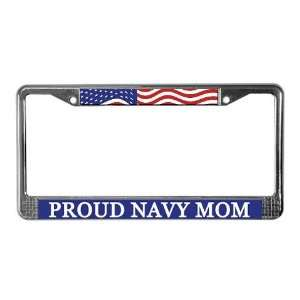 Proud Navy Mom Flag License Plate Frame by