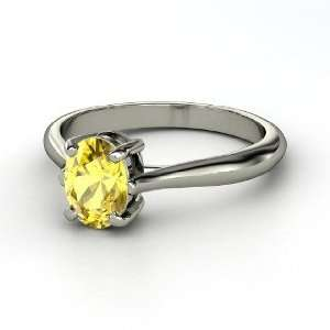 Oval Solitaire Ring, Oval Yellow Sapphire Platinum Ring