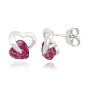 10k White Gold Heart Pink Tourmaline Earrings Jewelry