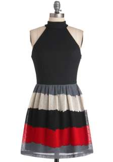 At the Movies Dress   Short, Red, Black, Grey, Stripes, Cutout, Woven