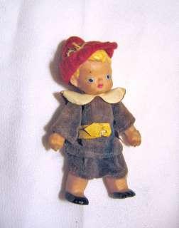 vintage old rubber blonde boy doll Flagg Doll Co. felt hat clothes 3
