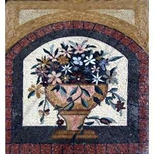 40x44 Flower Mosaic Art Tile Mural Wall Decor