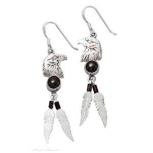Eagle Head Dangle Earrings Black Onyx Two Eagle Feathers: Jewelry