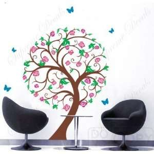 Vinyl Wall Sticker Decal Art NEW DESIGN  Rose Tree with flying