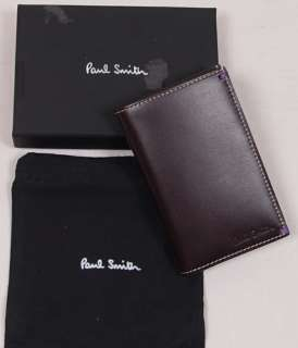 PAUL SMITH WALLET $265 BROWN LOGO SLIM PINUP WALLET NEW