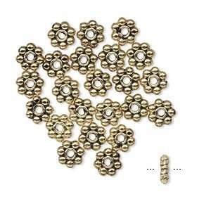 #4730 4mm Daisy Spacer Beads Antique Gold Lead Safe Pewter
