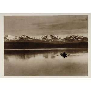 1924 Boat Tornetrask Lake Mountain Range Lapland Sweden   Original