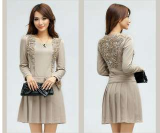 lace bow ruffles long sleeve slim fitted dress 3 colors BEIGE S