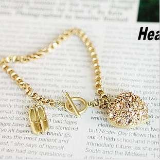 New Luxury Rhinestone Ballet Shoes&Heart Charm Bracelet