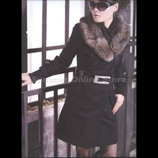 NEW Womens Fur collar Winter Long Coat Outerwear