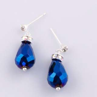 Pair Deep Blue AB Crystal Glass Teardrop Dangle Stud Earrings