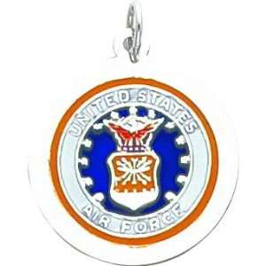 Sterling Silver Air Force Round Charm Jewelry