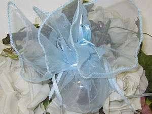 ORGANZA FAVOR WRAP CRAFT PACKAGING LIGHT BLUE POUCH BAG WEDDING BOY