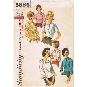 Simplicity 5885 Vintage Sewing Pattern Back Button Blouse