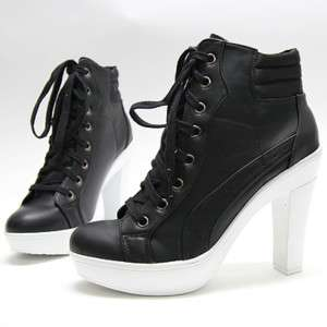 Womens Black White Sneakers Lace Up High Heel US 5~8