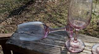 LAVENDER GLASS WINE GLASS LOT LOOK HANDMADE LOVELY COLOR GLASS